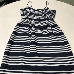 J Crew spaghetti strap dress in navy and white
